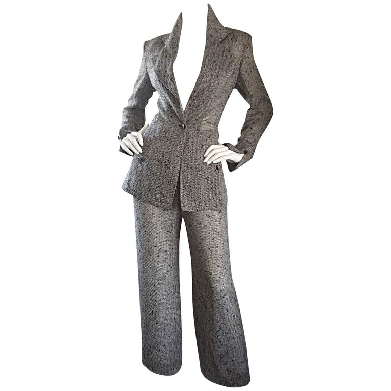 Jean - Louis Scherrer Coture Numbered Vintage Gray Le Smoking Pant Suit Ensemble 1