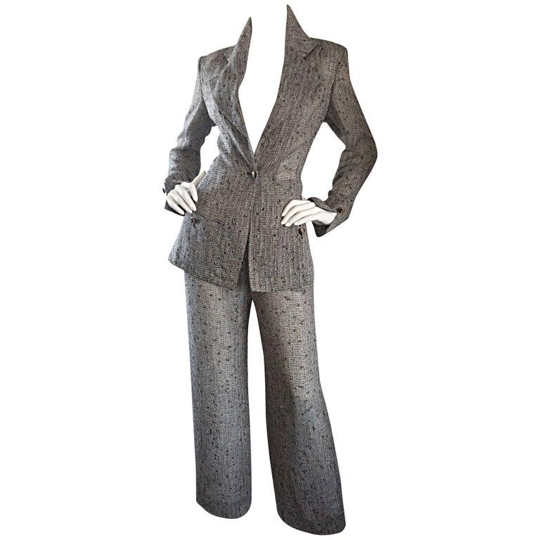 Jean - Louis Scherrer Coture Numbered Vintage Gray Le Smoking Pant Suit Ensemble For Sale