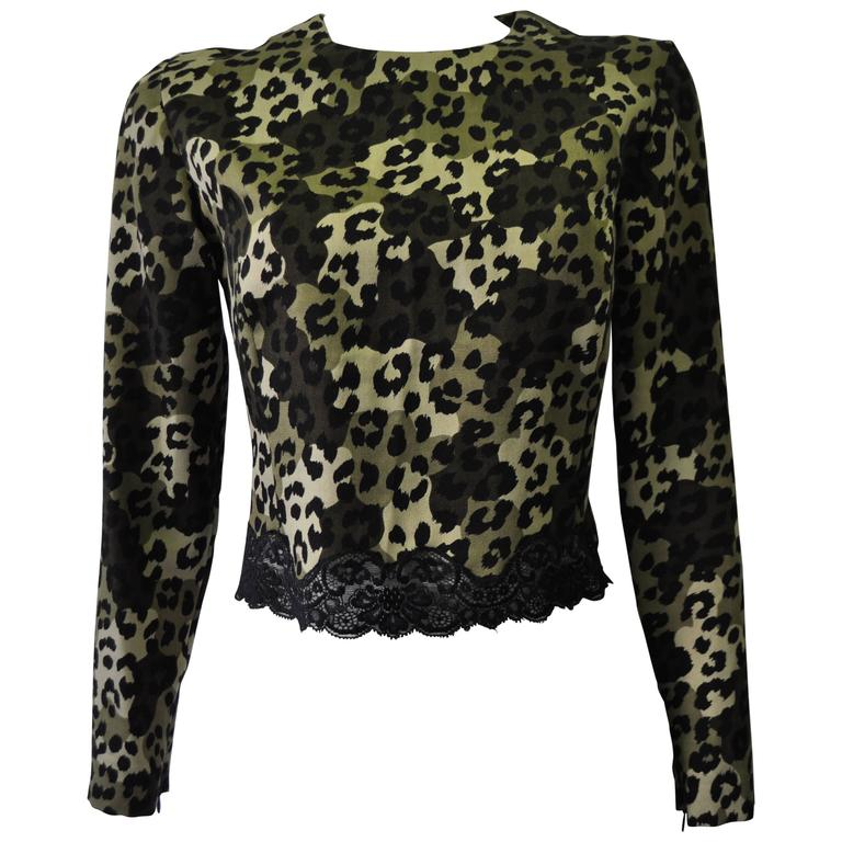 Gianni Versace Istante Leopard Camouflage Printed Lace Trim Top