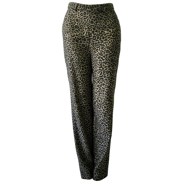 Gianni Versace Istante High Waisted Leopard Print Pants