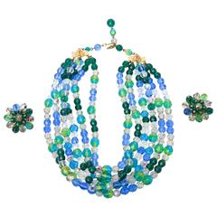 Gorgeous Set of Signed Schiaparelli Glass Bead Necklace and Clip on Earrings