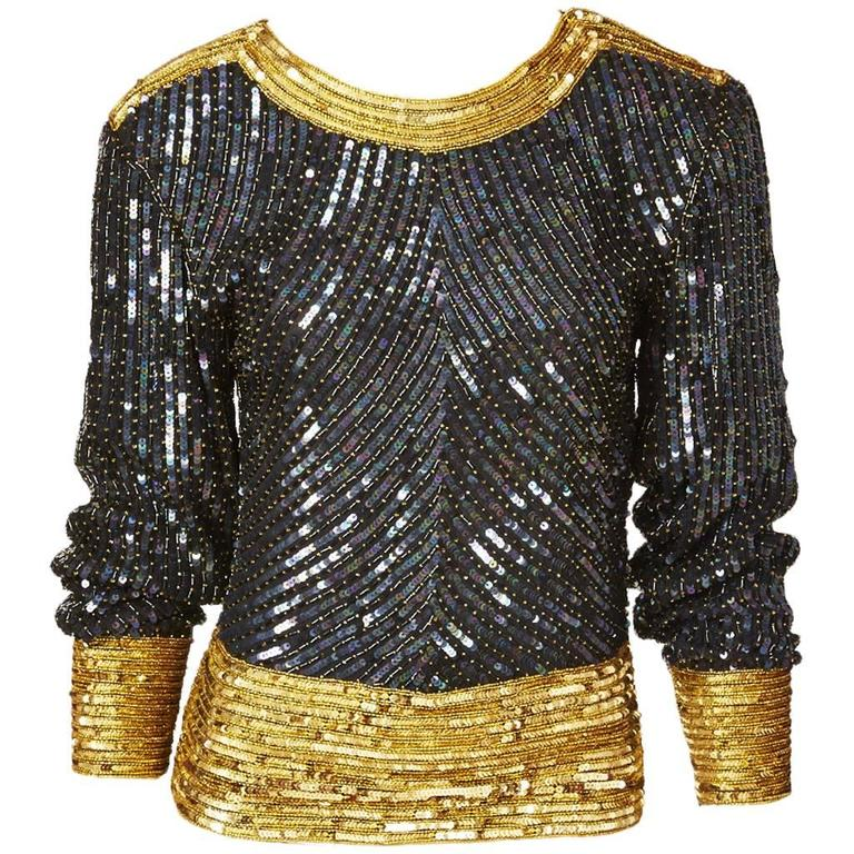 Yves Saint Laurent Bugle Beaded and Sequined Top 1