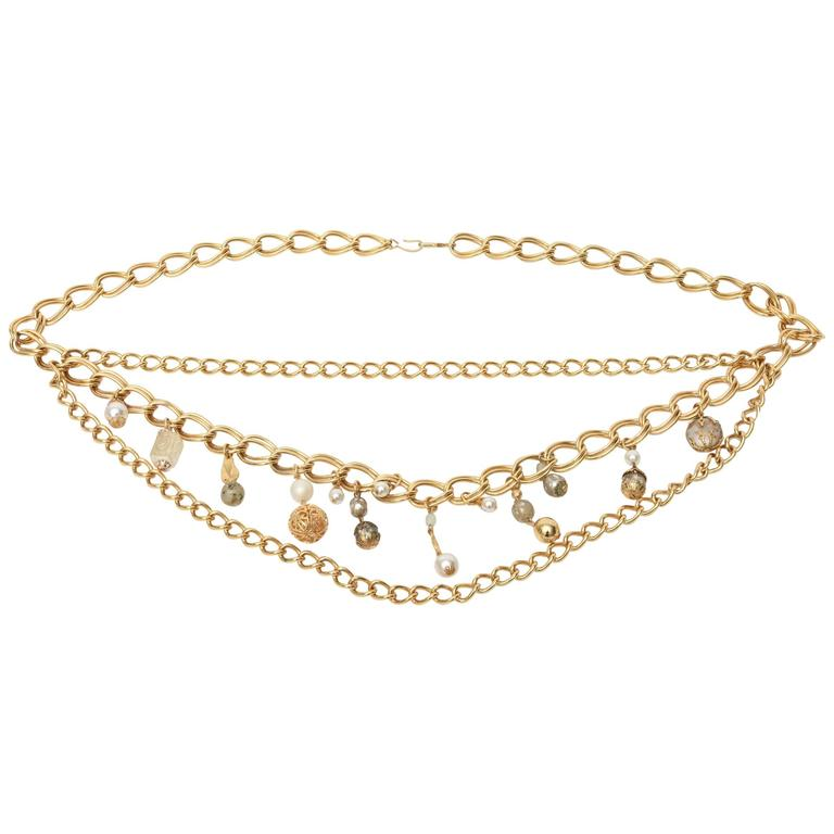 Gold Plated Belt, hanging with Faux pearls