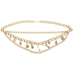 Gold Plated Link Belt with Faux Pearl Dangles Vintage