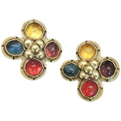 Vintage Signed Yves St. Laurent Rive Gauche France Multi-Color Earrings