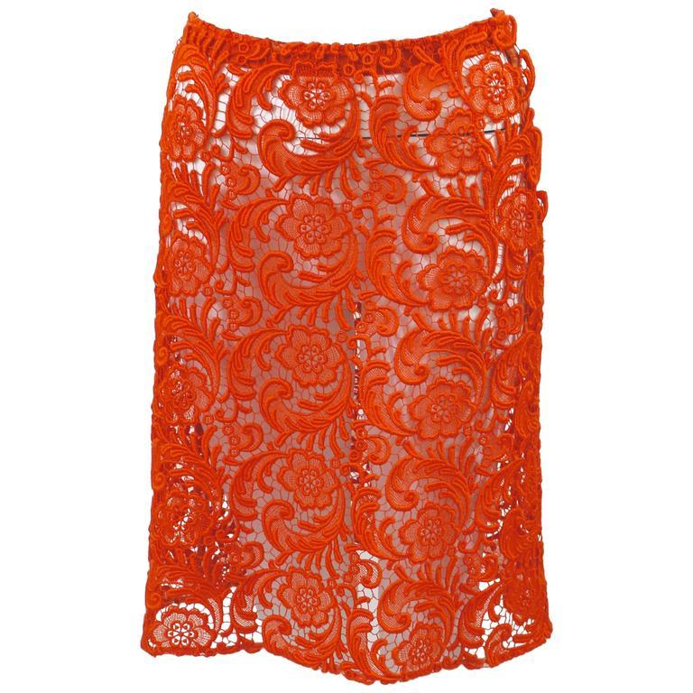 Fall 2008 Prada Orange Guipure Lace Skirt Runway Look #20