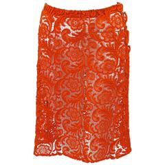 Fall 2008 Prada Orange Guipure Lace Skirt Runway Look #20