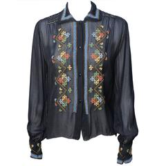 Exquisite Vintage Black Sheer Crepe Peasant Hand Embroidered Blouse