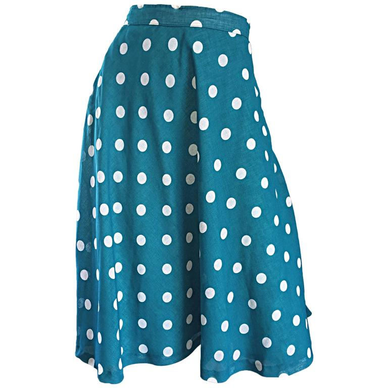 1950s Turquoise Blue + White Polka Dot Full Vintage 50s Cotton Voile Skirt  1