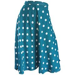 1950s Turquoise Blue + White Polka Dot Full Vintage 50s Cotton Voile Skirt