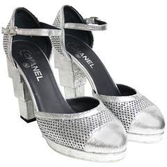 Chanel Silver Metallic D'ORSAY High Heels Pumps