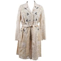 SCERVINO STREET Beige & White EMBROIDERIE Floral TRENCH COAT Size 44