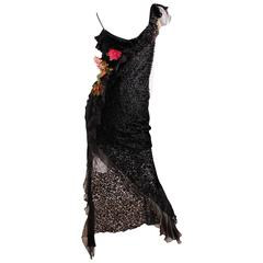 Christian Dior Evening Dress Black/Flowers