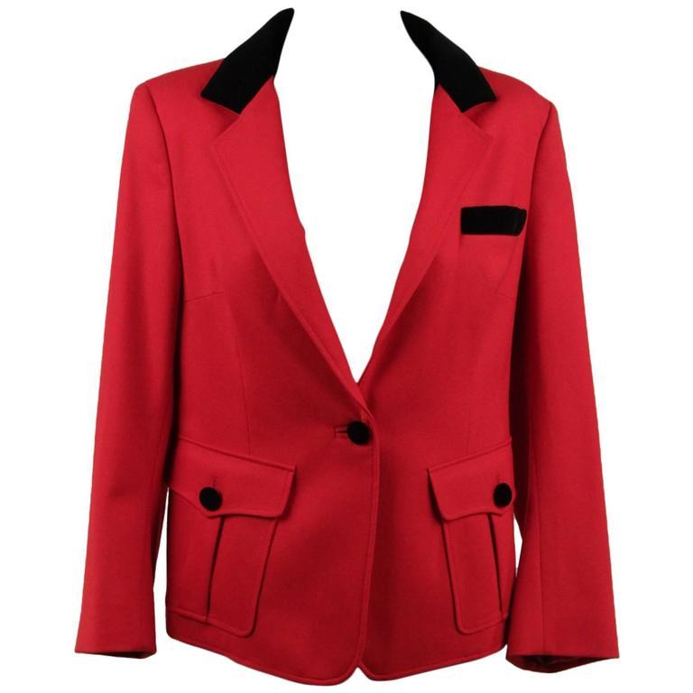 BALENCIAGA Red Wool BLAZER Jacket EQUESTRIAN Style SIZE 38 1