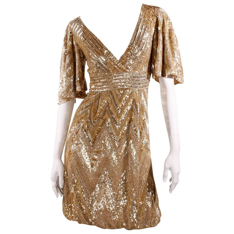 Elie Saab Cocktaildress Gold - sequins & beads For Sale
