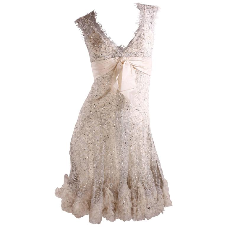 Elie Saab Haute Couture Cocktail Dress - white lace/silver sequins