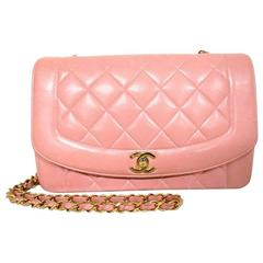 Vintage CHANEL pink color lambskin classic 2.55 shoulder purse with golden chain