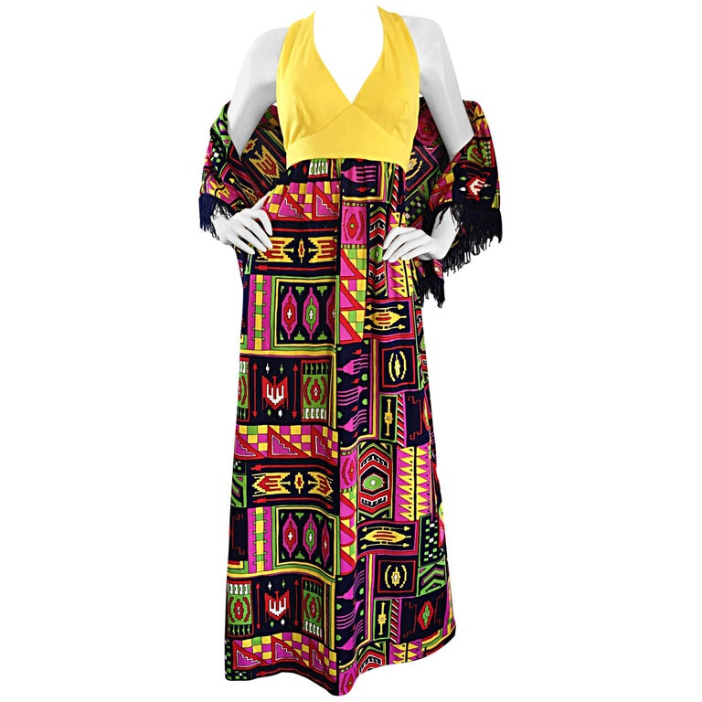 Incredible 1970s Kelly Arden Colorful Yellow Vintage Maxi Dress + Fringed Shawl For Sale