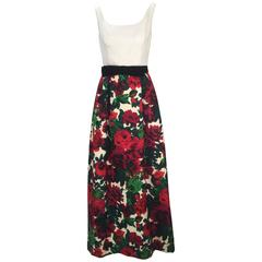 1960s Isabell Gerhart Sleeveless Dress with Floral Skirt