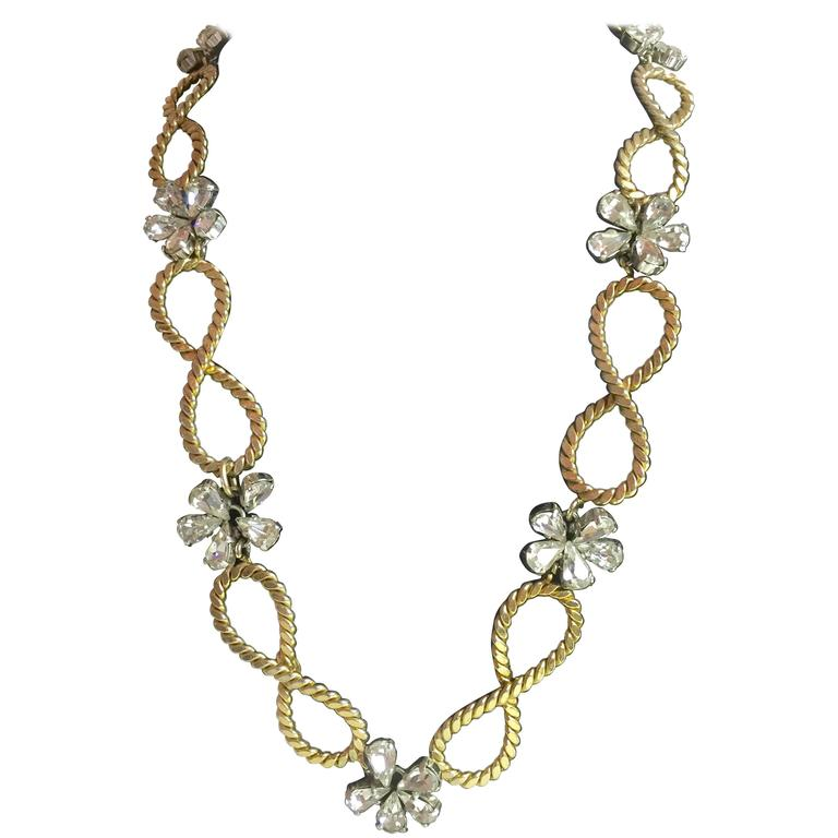 1950's CHRISTIAN DIOR Braided Looped and Floral Rhinestone Necklace 1958 For Sale