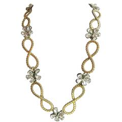 1950's CHRISTIAN DIOR Braided Looped and Floral Rhinestone Necklace 1958