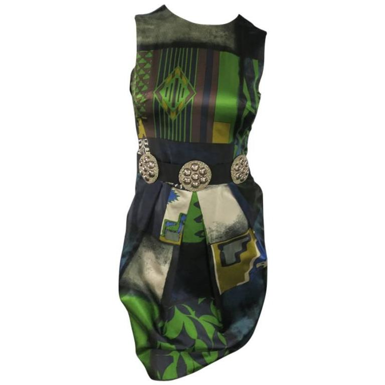 ETRO Size 2 Green Printed Satin SLeeveless Embellished Belt Cocktail Dress For Sale
