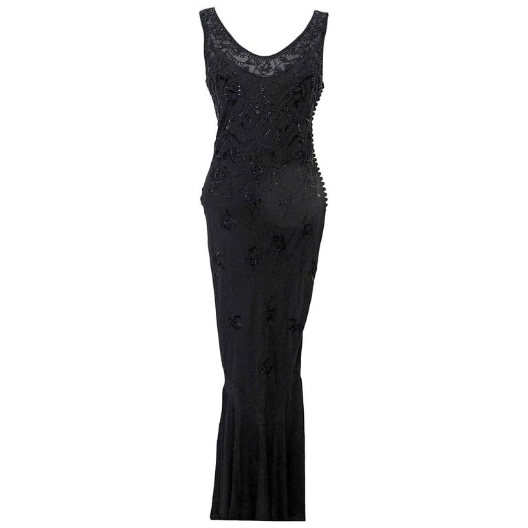 John Galliano for Christian Dior Sleeveless Black Beaded Gown 1
