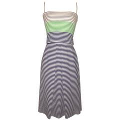 Lanvin 1960s Blue and White Striped Crop Tank Top and Skirt Sun Dress Ensemble