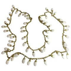 """1960s NAPIER 82"""" Long Gold chain and White Resin Opera length Necklace/Earrings"""