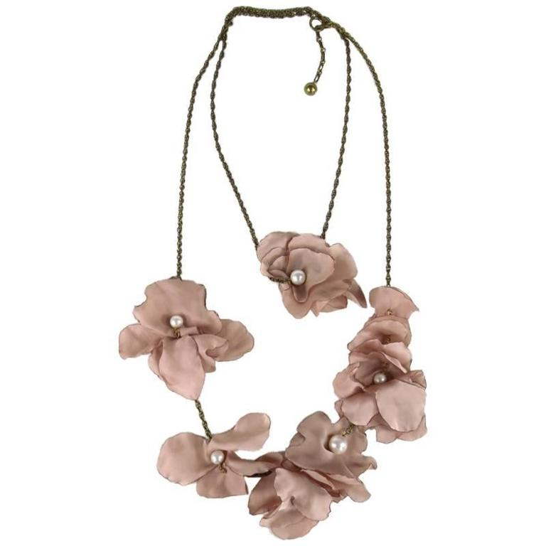 Lanvin Pearl Necklace: LANVIN Pink Silk Faux Pearl Flower Dark Gold Chain Wrap