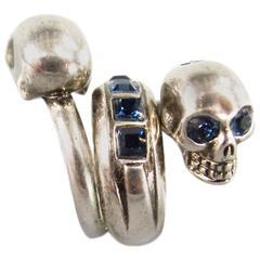 ALEXANDER MCQUEEN Silver Tone Metal Wrap Blue Crystal Skull Ring