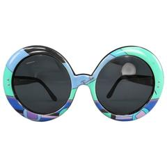 Vintage 1970's EMILIO PUCCI Blue & Purple Round Printed Acetate Sunglasses