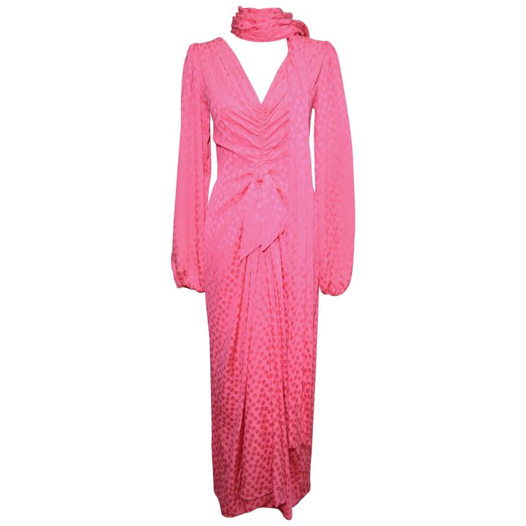 Eric Y Juan 1980s Pink Silk Polka Dot Ruched Dress 1