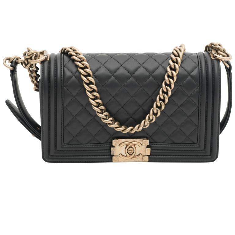 Chanel Old Medium Flap Bag Quilted Leather For Sale
