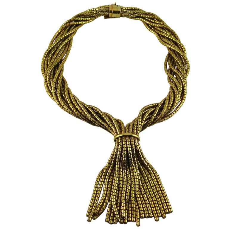 Christian Dior Vintage Gold Toned Multi Chain Tassel Necklace 1967 1