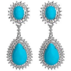 Chic Faux Diamond Turquoise Drop Earrings