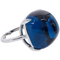 Fabulous Large Faux Cabochon Blue Sapphire Ring