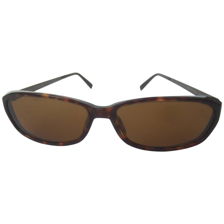 Moschino Tortoise Shell Brown Lucite Lens Sunglasses in Case