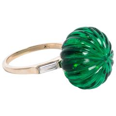 Maharajah Jewel Collection Faux Emerald Carved Bead Ring