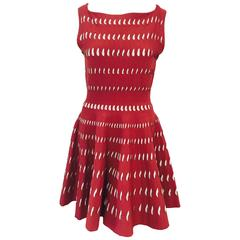 Azzedine Alaia Red & White Stretch Sleeveless Dress W Architectural Cutouts