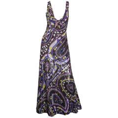 Emilio Pucci Purple/Multi Signature Printed Sequin Gown