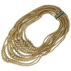 Glamorous Multi Strand Swag Pearl Necklace