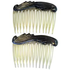 1960s PAIR Mexican Celluloid and Sterling Silver Hair Combs