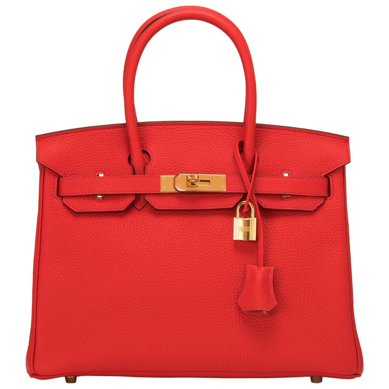 hermes birkin bag replica cheap - Hermes Rouge Tomate Clemence Birkin 30cm Gold Hardware For Sale at ...