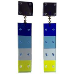 21st Century Pegged Acrylic Drop Earrings by Louis Velasquez
