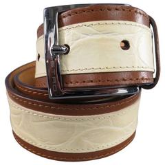 ETRO Cream Alligator Embossed Brown Stripe Leather Belt