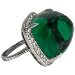 Art Deco Style  Large Faux Cabochon Emerald Diamond Ring