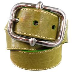 MIU MIU Green Leather Silver Buckle Belt