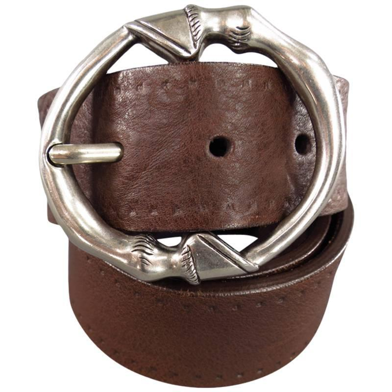 Gucci Brown Leather Silver Horse Hoof Buckle Circle Belt