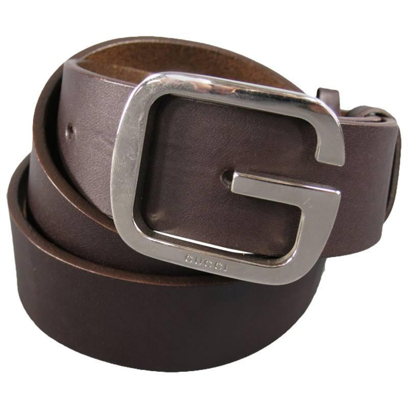 gucci chocolate brown leather silver g buckle belt at 1stdibs